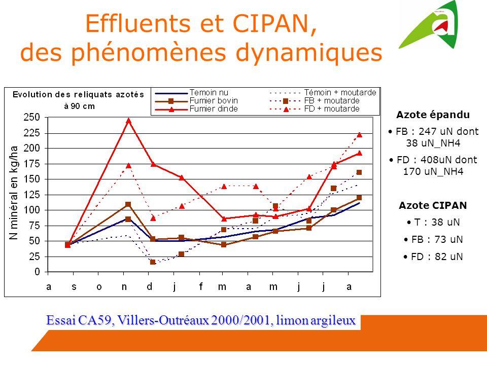 Essai CA59, Villers-Outréaux 2000/2001, limon argileux Azote épandu FB : 247 uN dont 38 uN_NH4 FD : 408uN dont 170 uN_NH4 Azote CIPAN T : 38 uN FB : 73 uN FD : 82 uN Effluents et CIPAN, des phénomènes dynamiques