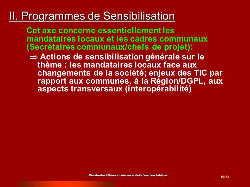Ministre des Affaires intérieures et de la Fonction Publique 10/22 II. Programmes de Sensibilisation Cet axe concerne essentiellement les mandataires