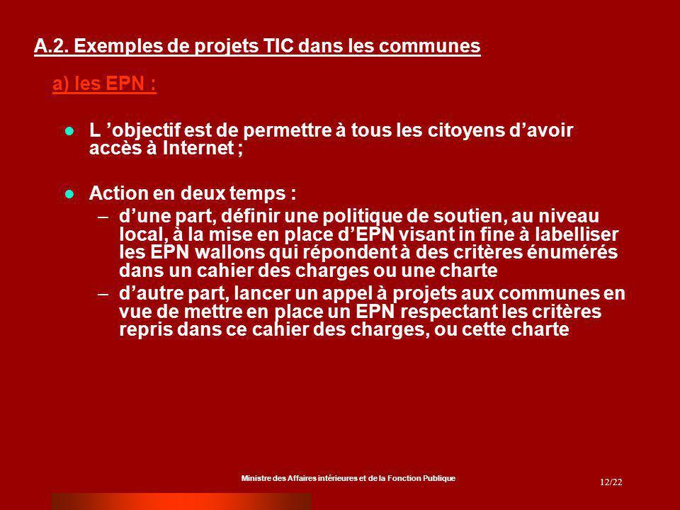 Ministre des Affaires intérieures et de la Fonction Publique 12/22 A.2. Exemples de projets TIC dans les communes L objectif est de permettre à tous l