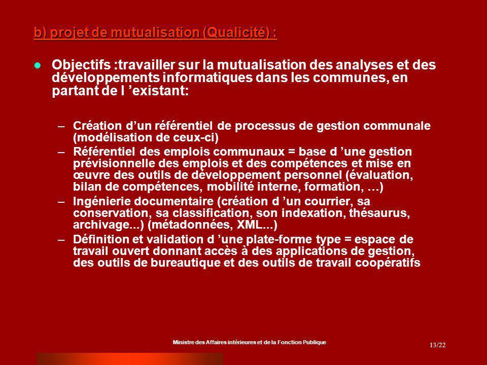Ministre des Affaires intérieures et de la Fonction Publique 13/22 b) projet de mutualisation (Qualicité) : Objectifs :travailler sur la mutualisation