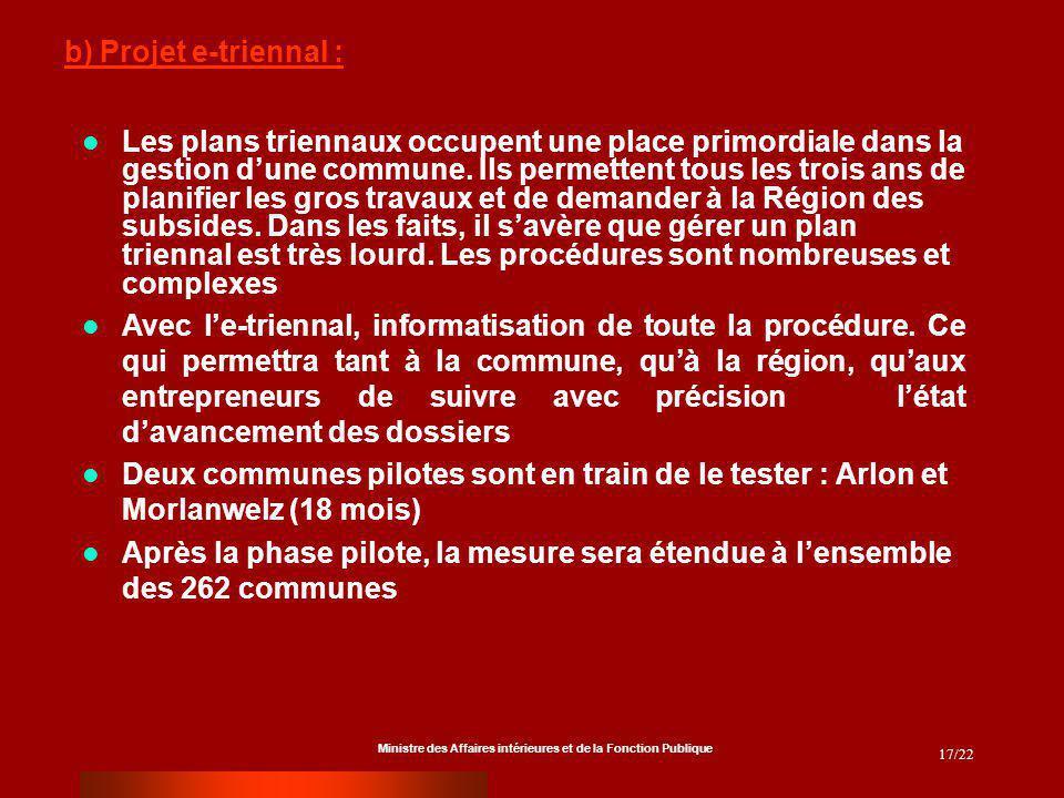 Ministre des Affaires intérieures et de la Fonction Publique 17/22 Les plans triennaux occupent une place primordiale dans la gestion dune commune.