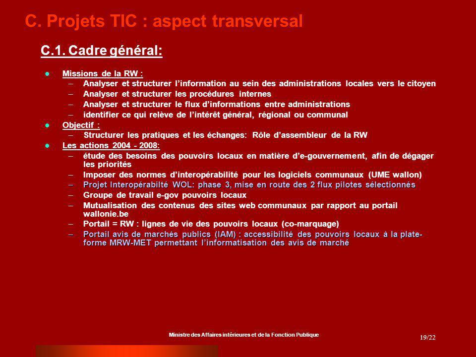 Ministre des Affaires intérieures et de la Fonction Publique 19/22 C. Projets TIC : aspect transversal Missions de la RW : –Analyser et structurer lin