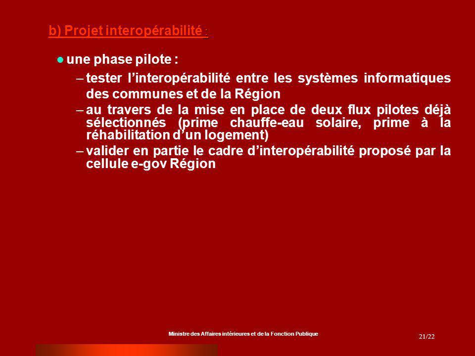Ministre des Affaires intérieures et de la Fonction Publique 21/22 une phase pilote : –tester linteropérabilité entre les systèmes informatiques des c