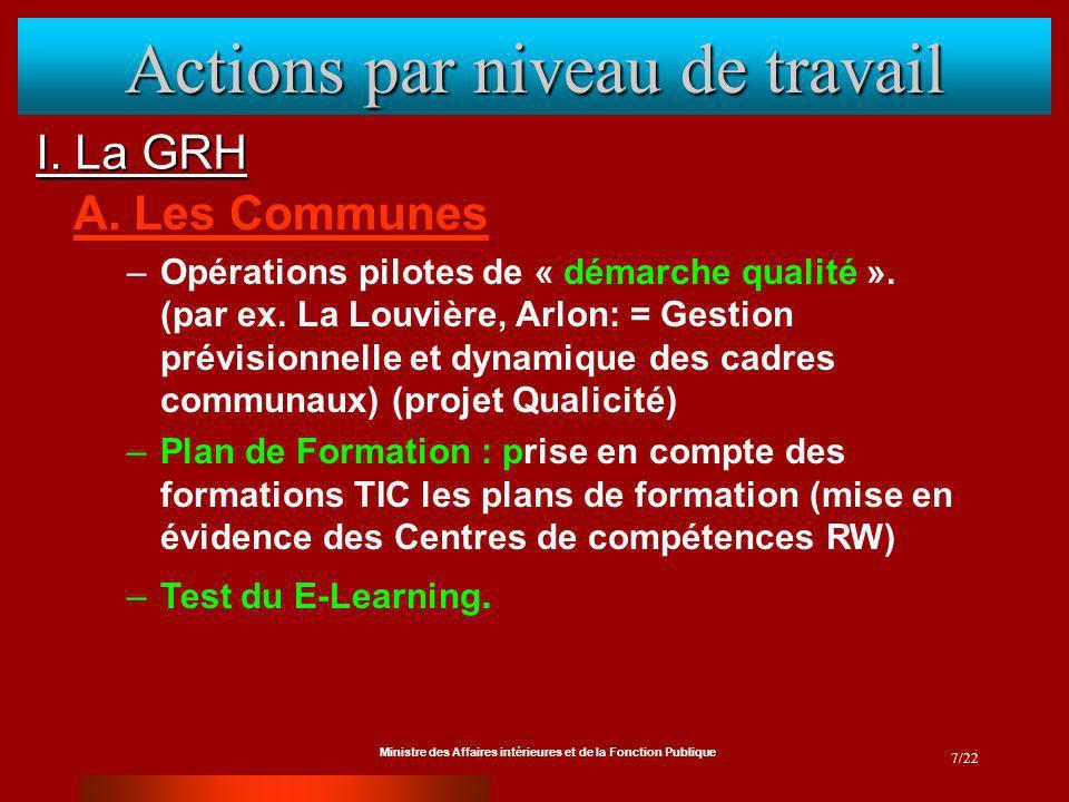 Ministre des Affaires intérieures et de la Fonction Publique 7/22 I. La GRH Actions par niveau de travail A. Les Communes –Opérations pilotes de « dém