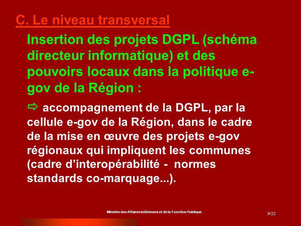 Ministre des Affaires intérieures et de la Fonction Publique 9/22 C. Le niveau transversal Insertion des projets DGPL (schéma directeur informatique)