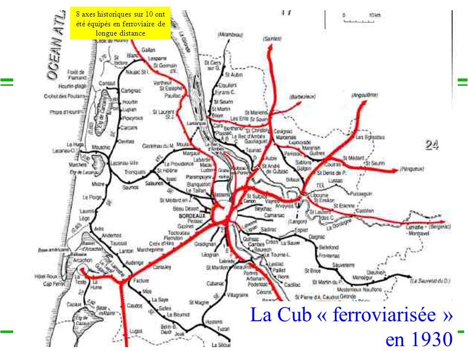COLLOQUE « COMMUNAUTE DE TERRITOIRE, INTELLIGENCE TERRITORIALE » Vendredi 13 décembre 2013 – Liège 8 axes historiques sur 10 ont été équipés en ferroviaire de longue distance La Cub « ferroviarisée » en 1930