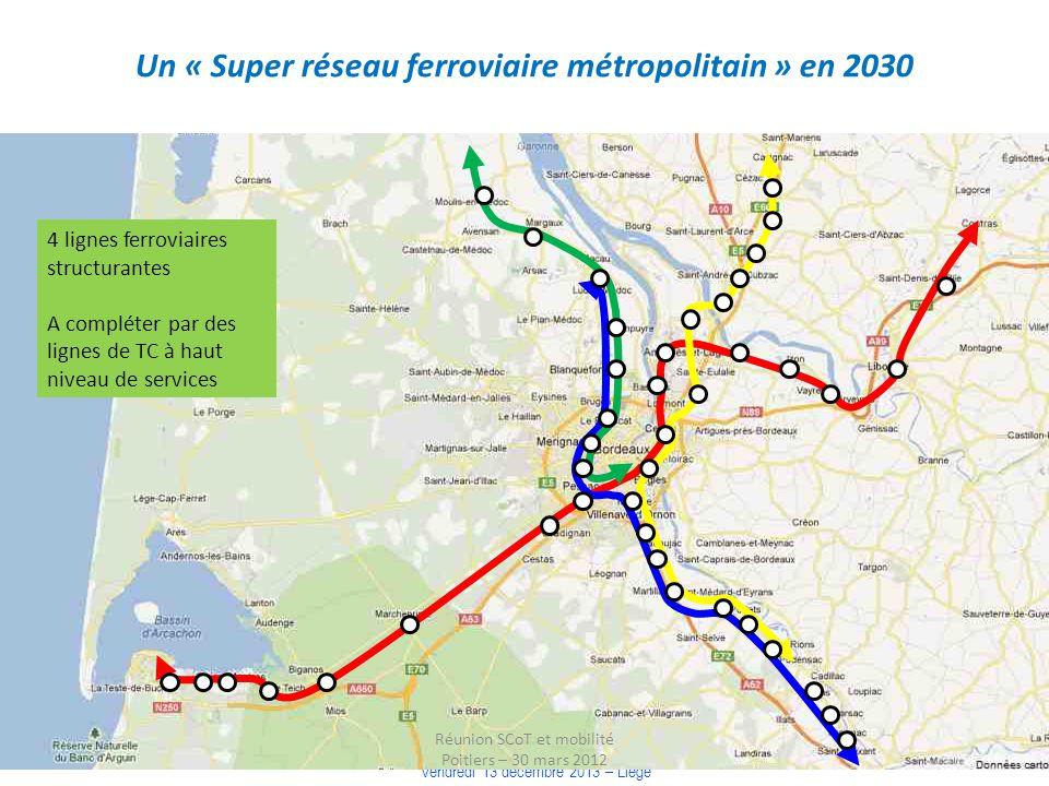 COLLOQUE « COMMUNAUTE DE TERRITOIRE, INTELLIGENCE TERRITORIALE » Vendredi 13 décembre 2013 – Liège Un « Super réseau ferroviaire métropolitain » en 20
