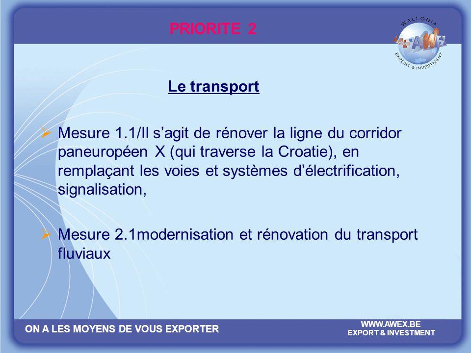 ON A LES MOYENS DE VOUS EXPORTER WWW.AWEX.BE EXPORT & INVESTMENT PRIORITE 2 Le transport Mesure 1.1/Il sagit de rénover la ligne du corridor paneuropé