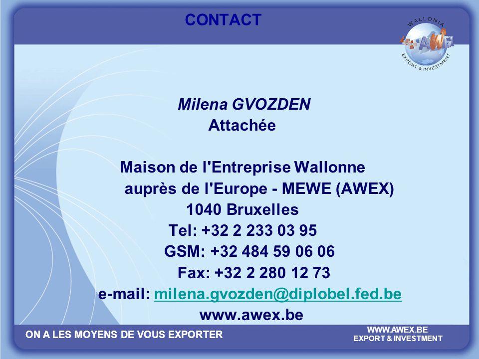 ON A LES MOYENS DE VOUS EXPORTER WWW.AWEX.BE EXPORT & INVESTMENT CONTACT Milena GVOZDEN Attachée Maison de l'Entreprise Wallonne auprès de l'Europe -