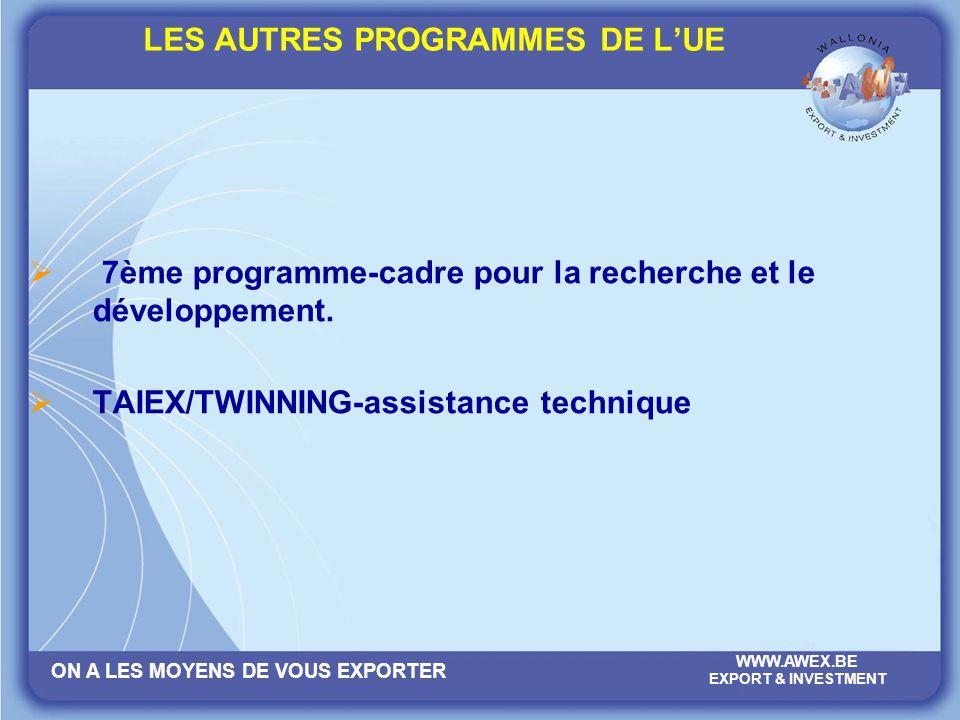 ON A LES MOYENS DE VOUS EXPORTER WWW.AWEX.BE EXPORT & INVESTMENT LES AUTRES PROGRAMMES DE LUE 7ème programme-cadre pour la recherche et le développeme
