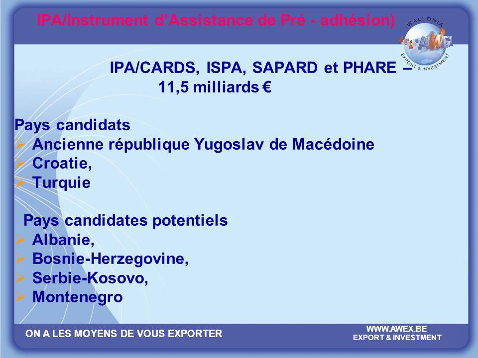 ON A LES MOYENS DE VOUS EXPORTER WWW.AWEX.BE EXPORT & INVESTMENT IPA/Instrument dAssistance de Pré - adhésion) IPA/CARDS, ISPA, SAPARD et PHARE – 11,5