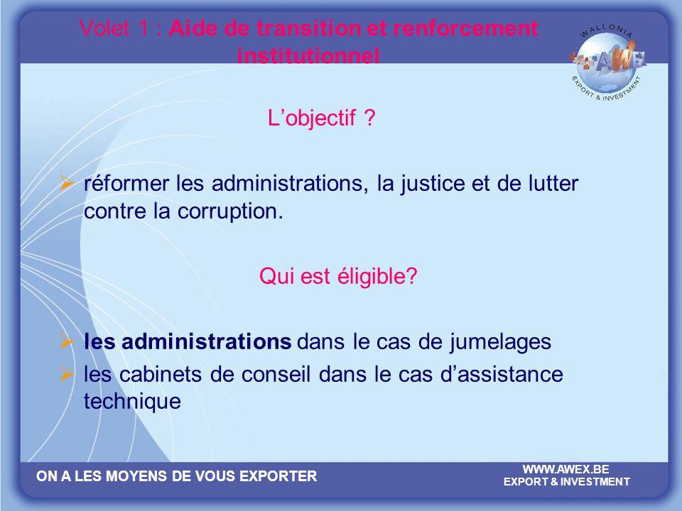 ON A LES MOYENS DE VOUS EXPORTER WWW.AWEX.BE EXPORT & INVESTMENT Volet 1 : Aide de transition et renforcement institutionnel Lobjectif ? réformer les