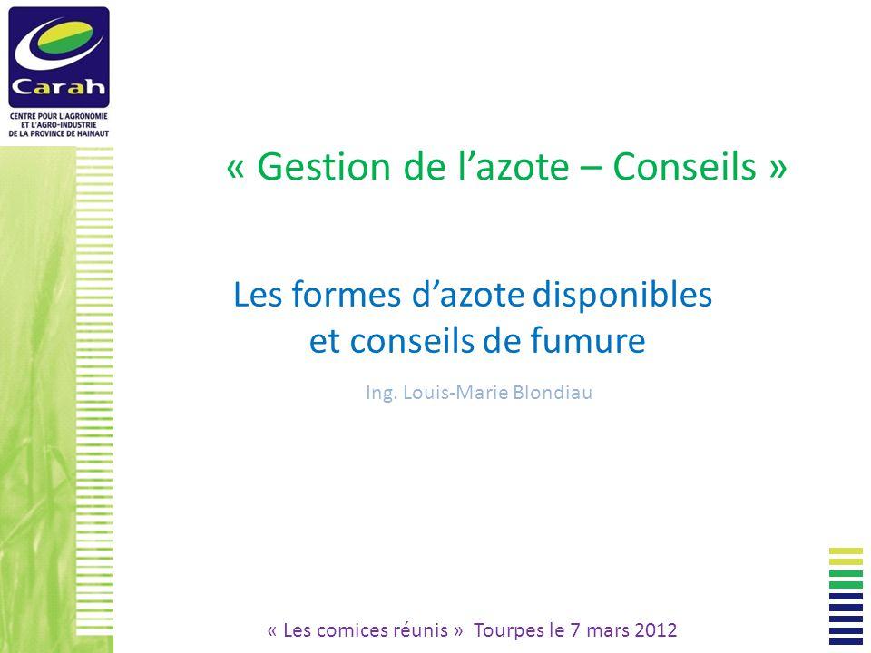 « Gestion de lazote – Conseils » Les formes dazote disponibles et conseils de fumure Ing.