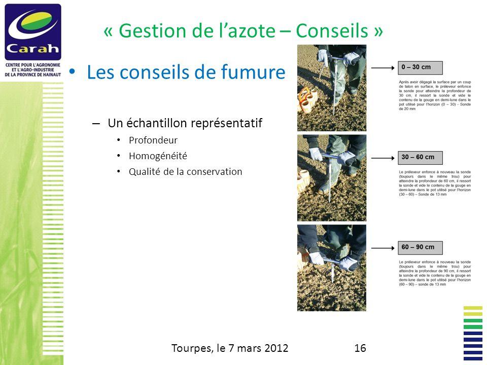 « Gestion de lazote – Conseils » Les conseils de fumure – Un échantillon représentatif Profondeur Homogénéité Qualité de la conservation Tourpes, le 7 mars 201216