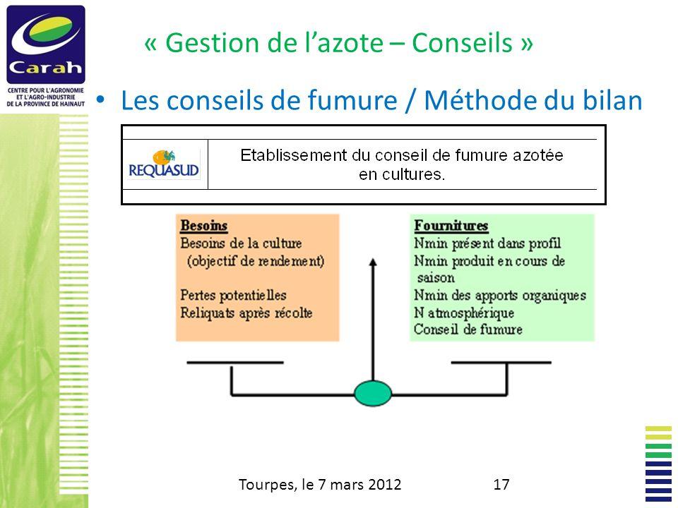 « Gestion de lazote – Conseils » Les conseils de fumure / Méthode du bilan Tourpes, le 7 mars 201217