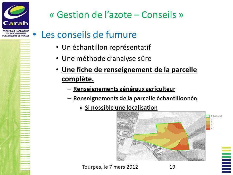 « Gestion de lazote – Conseils » Les conseils de fumure Un échantillon représentatif Une méthode danalyse sûre Une fiche de renseignement de la parcelle complète.