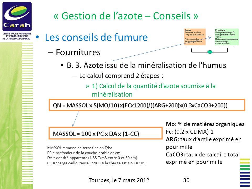 « Gestion de lazote – Conseils » Les conseils de fumure – Fournitures B.