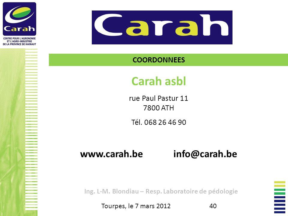 Carah asbl rue Paul Pastur 11 7800 ATH Tél.