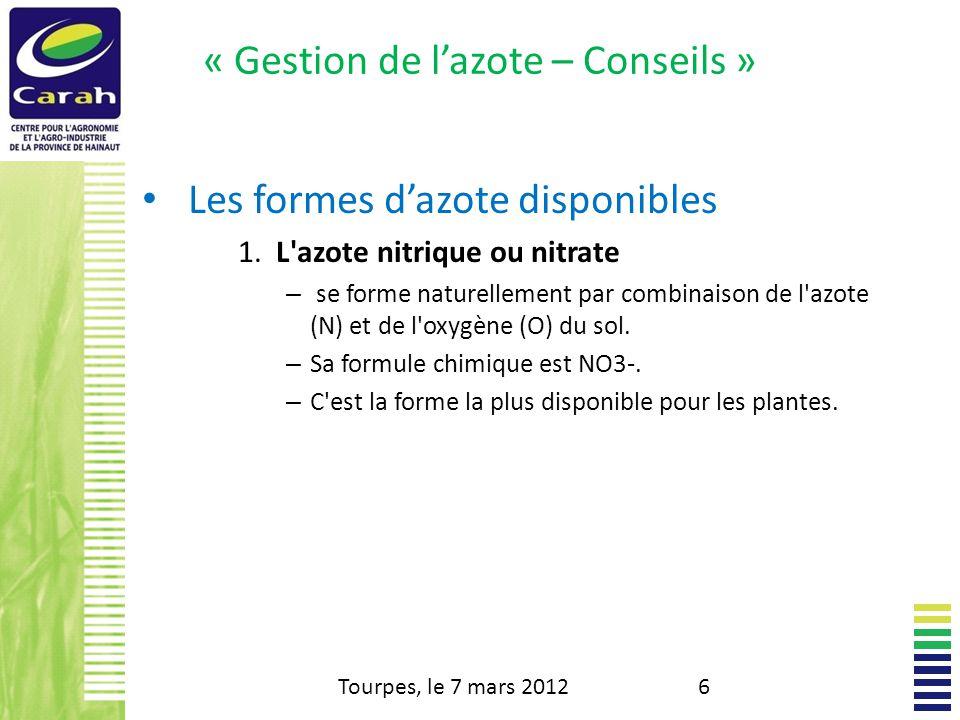 « Gestion de lazote – Conseils » Les conseils de fumure - BILAN Tourpes, le 7 mars 201237 Les besoins - Fournitures