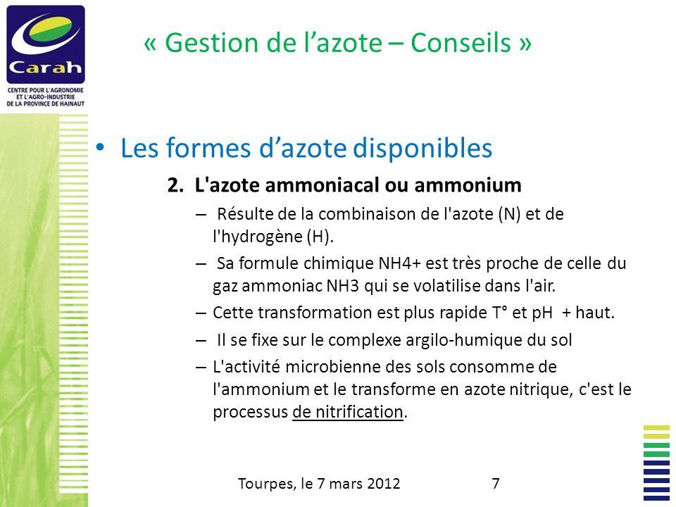 « Gestion de lazote – Conseils » Les formes dazote disponibles 2.
