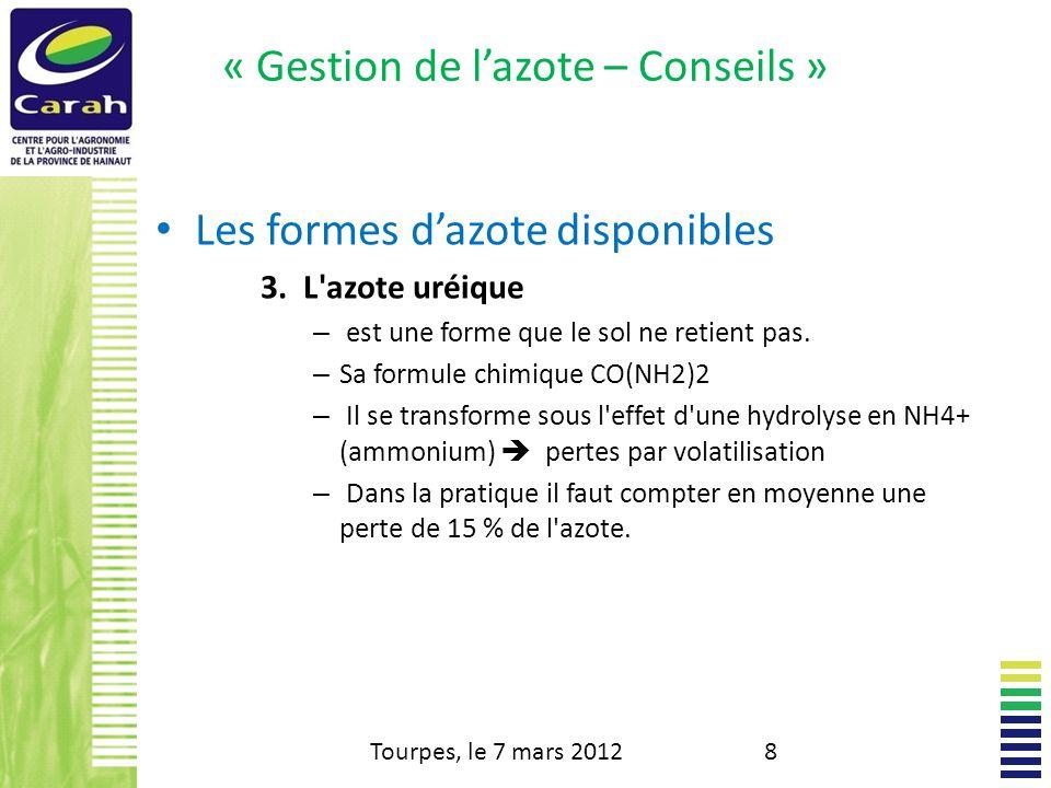 « Gestion de lazote – Conseils » Les formes dazote disponibles 4.