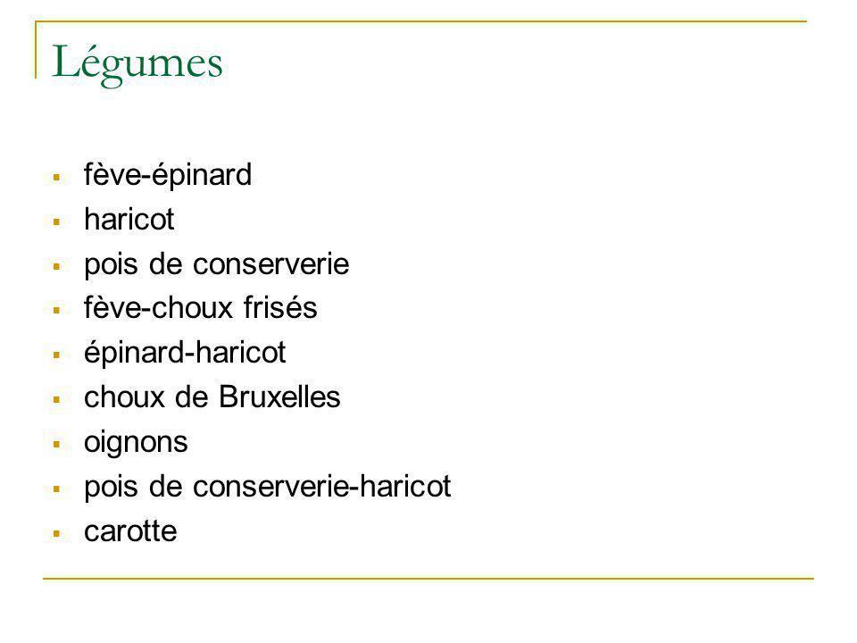 Légumes fève-épinard haricot pois de conserverie fève-choux frisés épinard-haricot choux de Bruxelles oignons pois de conserverie-haricot carotte