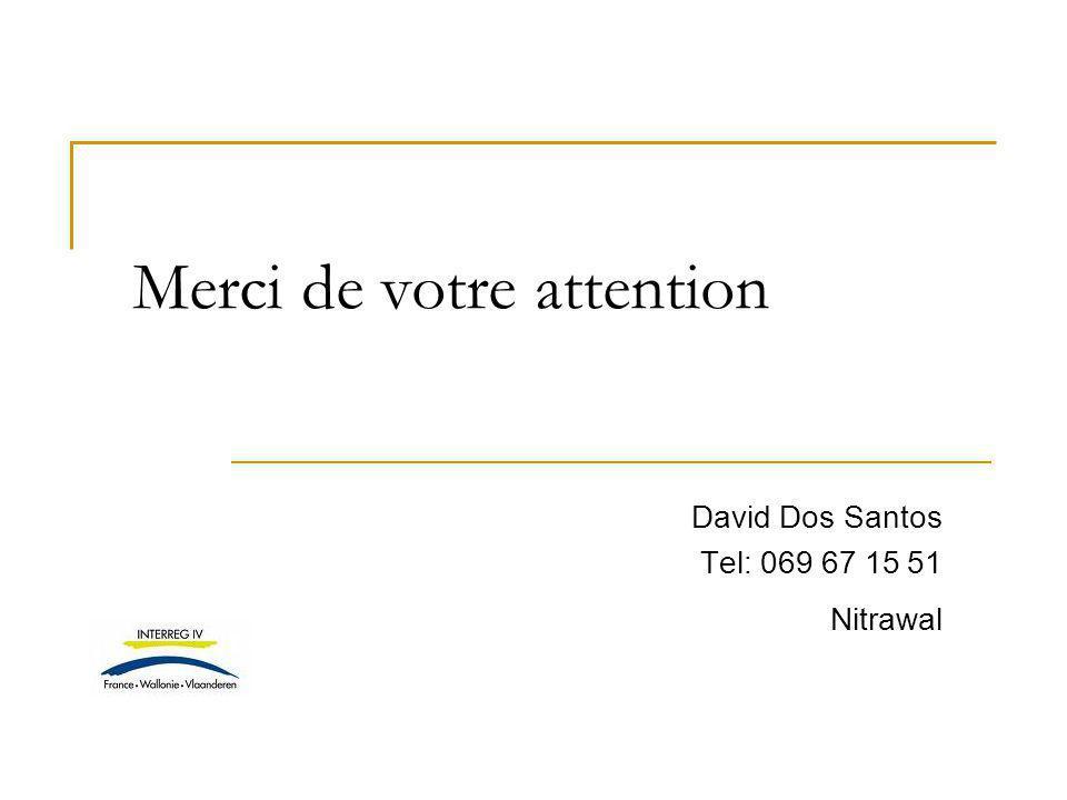 David Dos Santos Tel: 069 67 15 51 Nitrawal Merci de votre attention