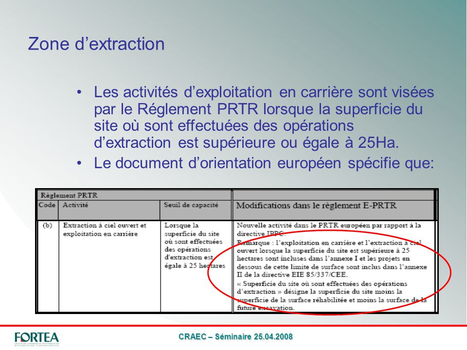 CRAEC – Séminaire 25.04.2008 Zone dextraction Les activités dexploitation en carrière sont visées par le Réglement PRTR lorsque la superficie du site où sont effectuées des opérations dextraction est supérieure ou égale à 25Ha.