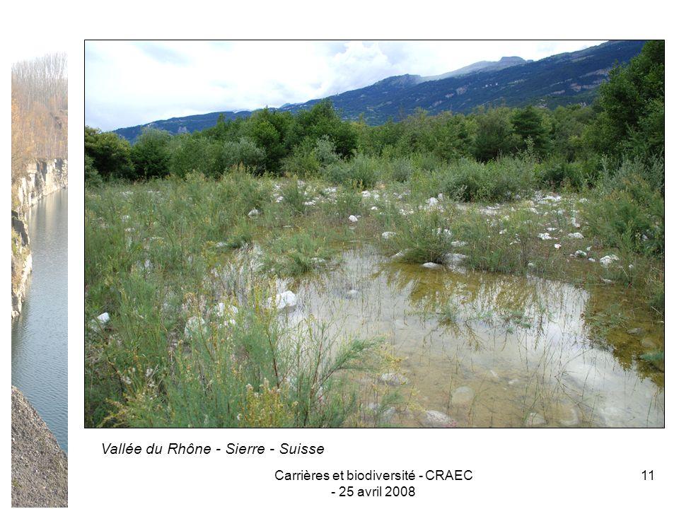 Carrières et biodiversité - CRAEC - 25 avril 2008 11 Vallée du Rhône - Sierre - Suisse