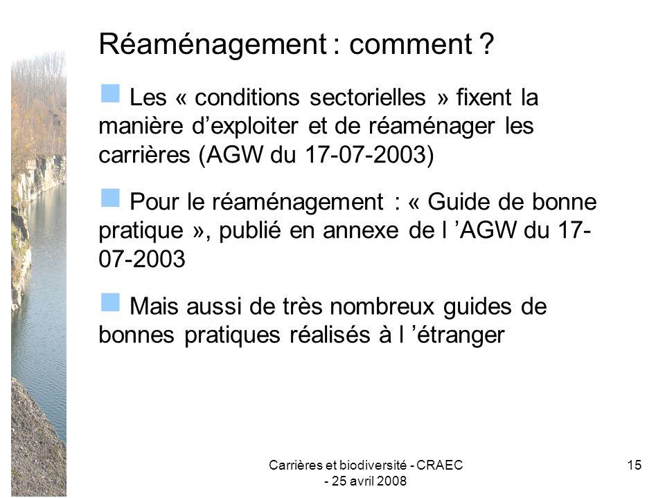 Carrières et biodiversité - CRAEC - 25 avril 2008 15 Réaménagement : comment ? Pour le réaménagement : « Guide de bonne pratique », publié en annexe d