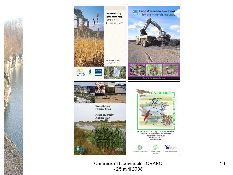 Carrières et biodiversité - CRAEC - 25 avril 2008 16