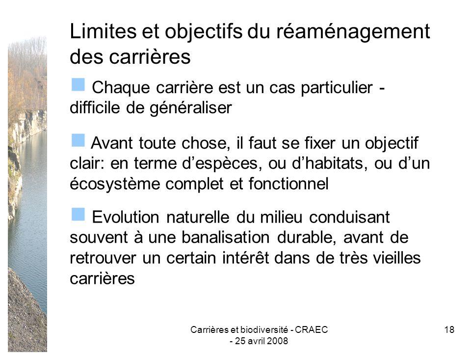 Carrières et biodiversité - CRAEC - 25 avril 2008 18 Limites et objectifs du réaménagement des carrières Chaque carrière est un cas particulier - diff