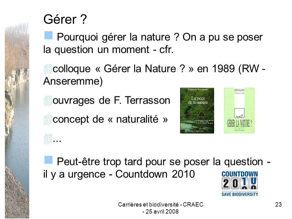 Carrières et biodiversité - CRAEC - 25 avril 2008 23 Gérer ? Peut-être trop tard pour se poser la question - il y a urgence - Countdown 2010 Pourquoi