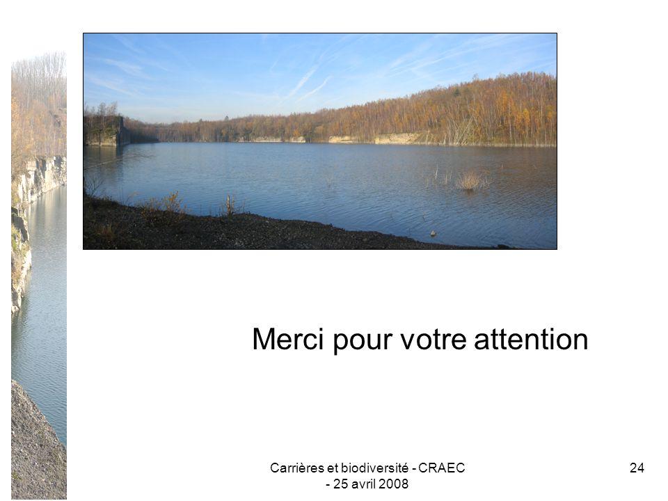 Carrières et biodiversité - CRAEC - 25 avril 2008 24 Merci pour votre attention