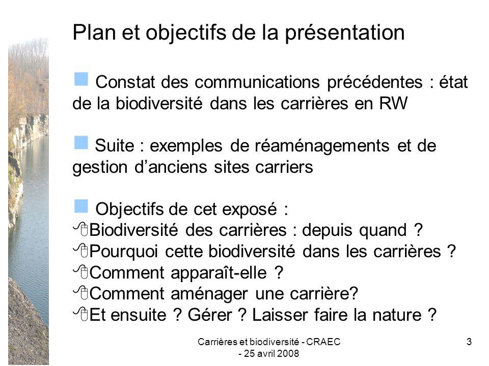 Carrières et biodiversité - CRAEC - 25 avril 2008 3 Plan et objectifs de la présentation Constat des communications précédentes : état de la biodivers