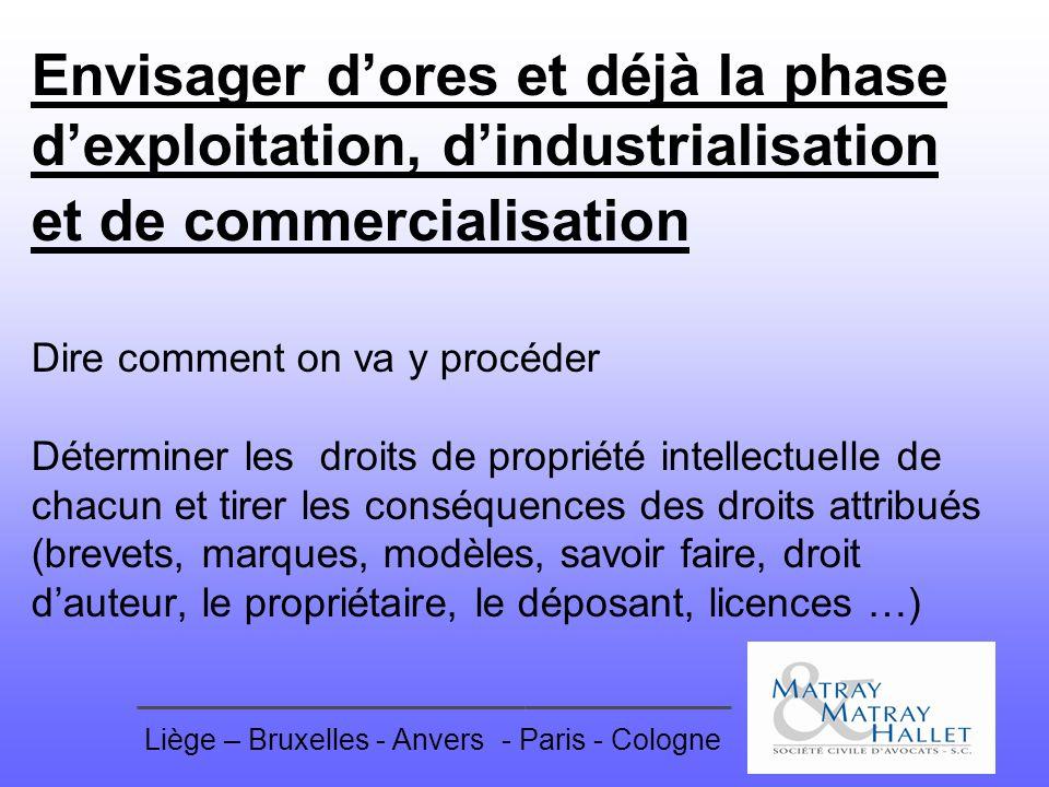 Liège – Bruxelles - Anvers- Paris - Cologne Envisager dores et déjà la phase dexploitation, dindustrialisation et de commercialisation Dire comment on