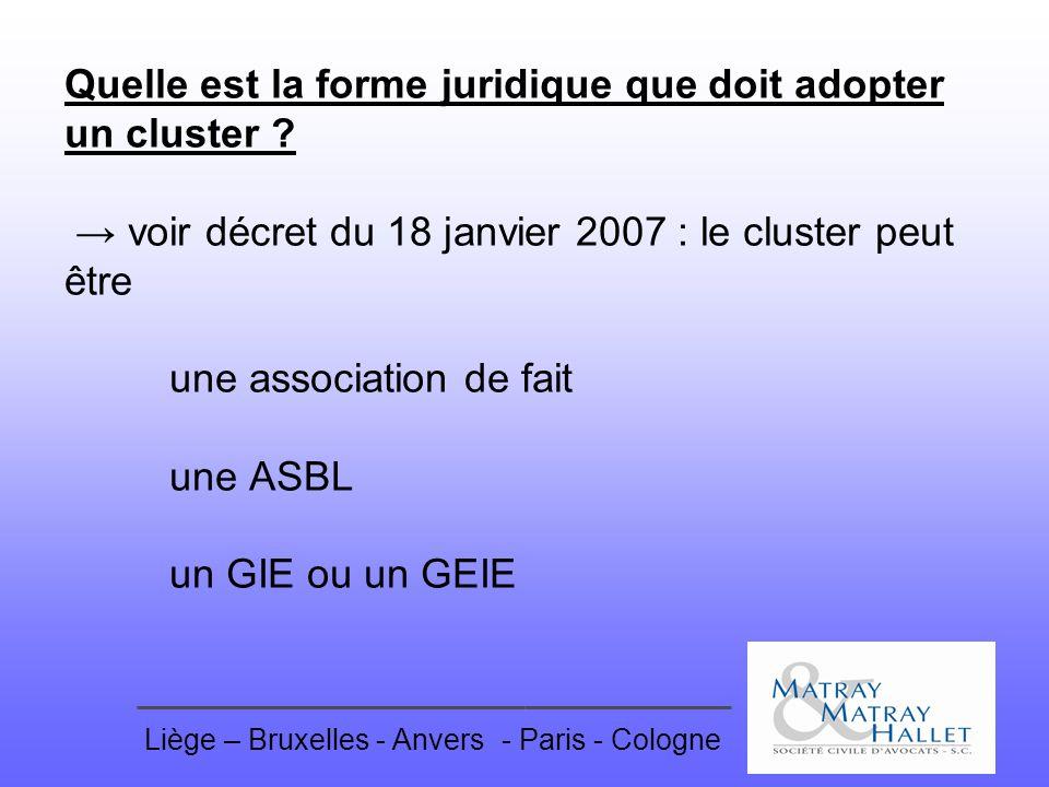 Liège – Bruxelles - Anvers- Paris - Cologne Quelle est la forme juridique que doit adopter un cluster ? voir décret du 18 janvier 2007 : le cluster pe