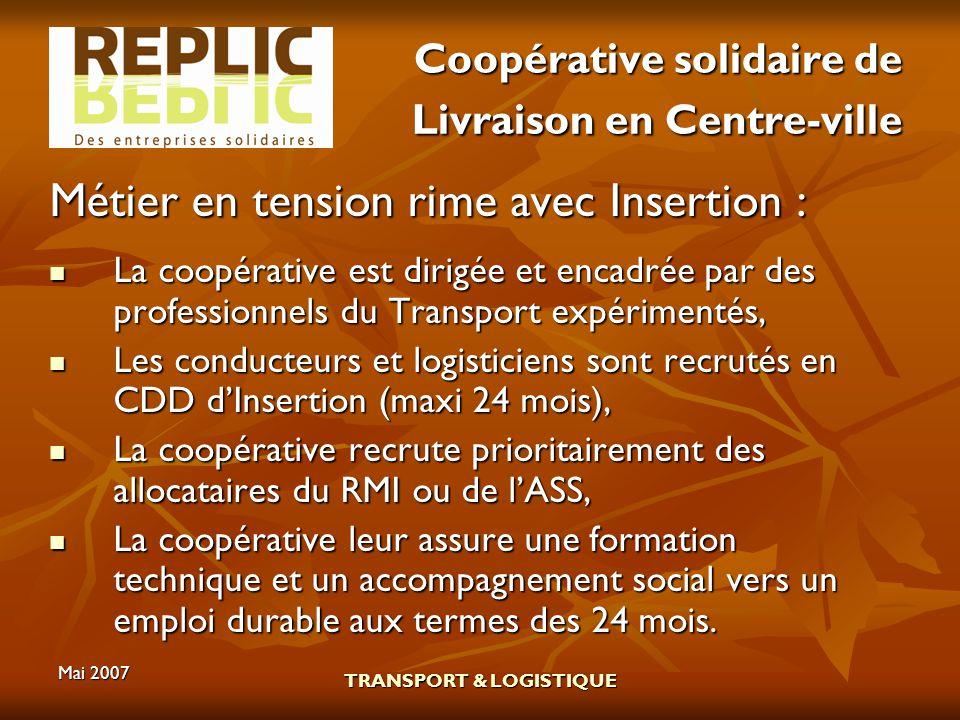 Mai 2007 TRANSPORT & LOGISTIQUE Coopérative solidaire de Livraison en Centre-ville Métier en tension rime avec Insertion : La coopérative est dirigée