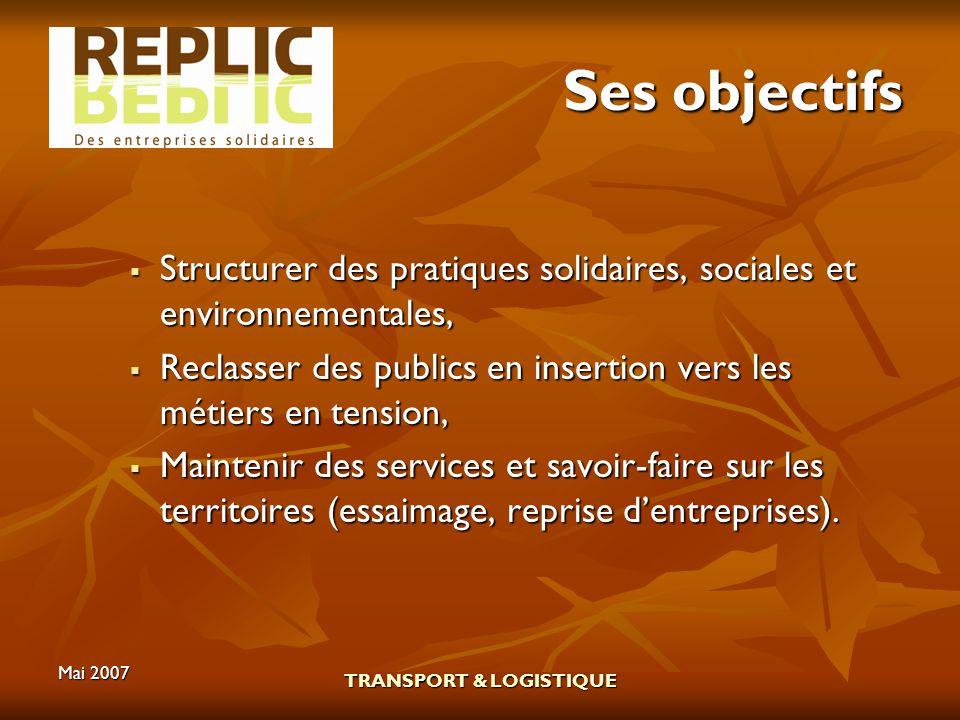 Mai 2007 TRANSPORT & LOGISTIQUE Ses objectifs Structurer des pratiques solidaires, sociales et environnementales, Structurer des pratiques solidaires,