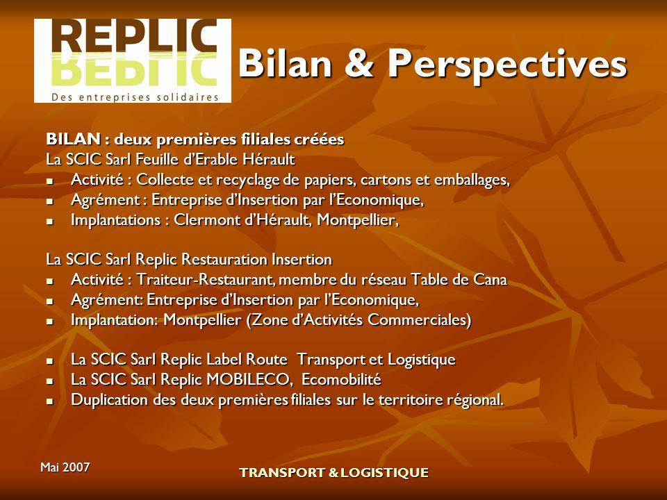 Mai 2007 TRANSPORT & LOGISTIQUE Bilan & Perspectives BILAN : deux premières filiales créées La SCIC Sarl Feuille dErable Hérault Activité : Collecte e