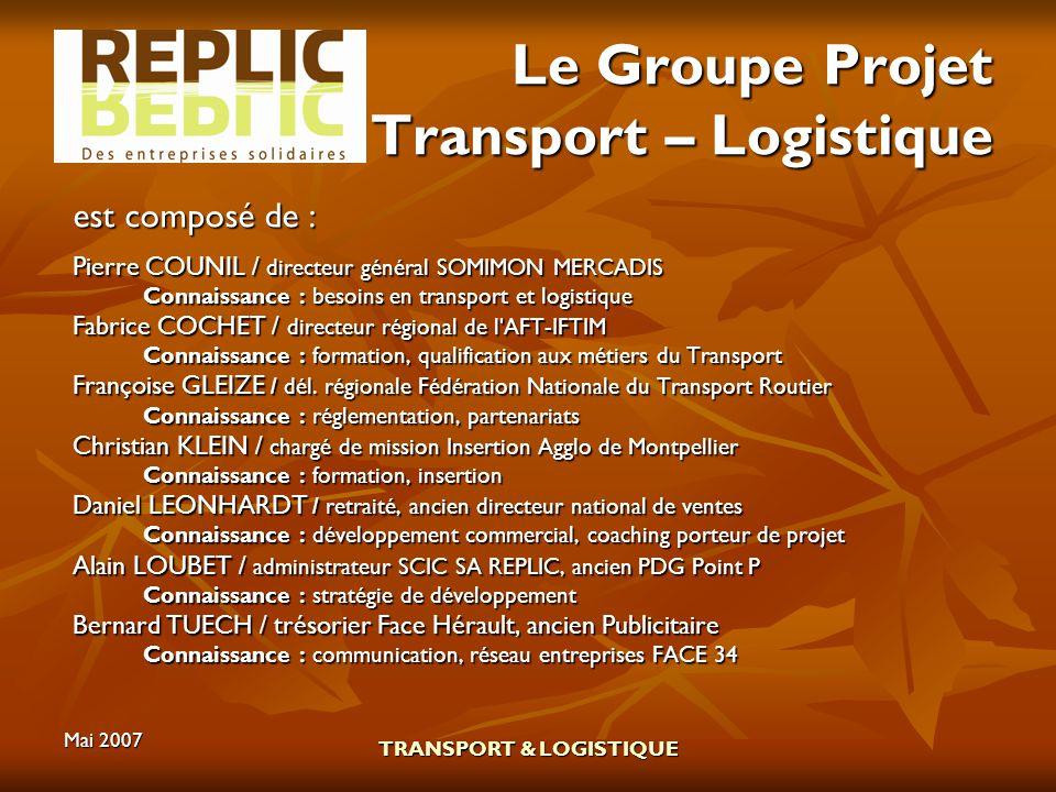 Mai 2007 TRANSPORT & LOGISTIQUE Le Groupe Projet Transport – Logistique est composé de : Pierre COUNIL / directeur général SOMIMON MERCADIS Connaissan