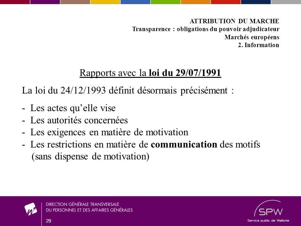 29 ATTRIBUTION DU MARCHE Transparence : obligations du pouvoir adjudicateur Marchés européens 2.