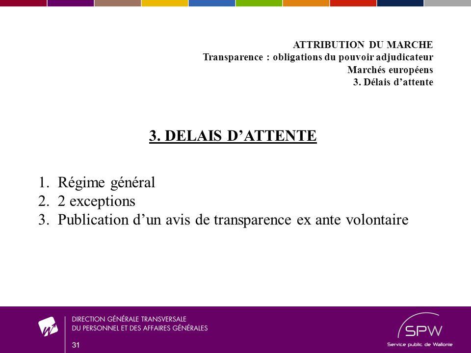 31 ATTRIBUTION DU MARCHE Transparence : obligations du pouvoir adjudicateur Marchés européens 3.