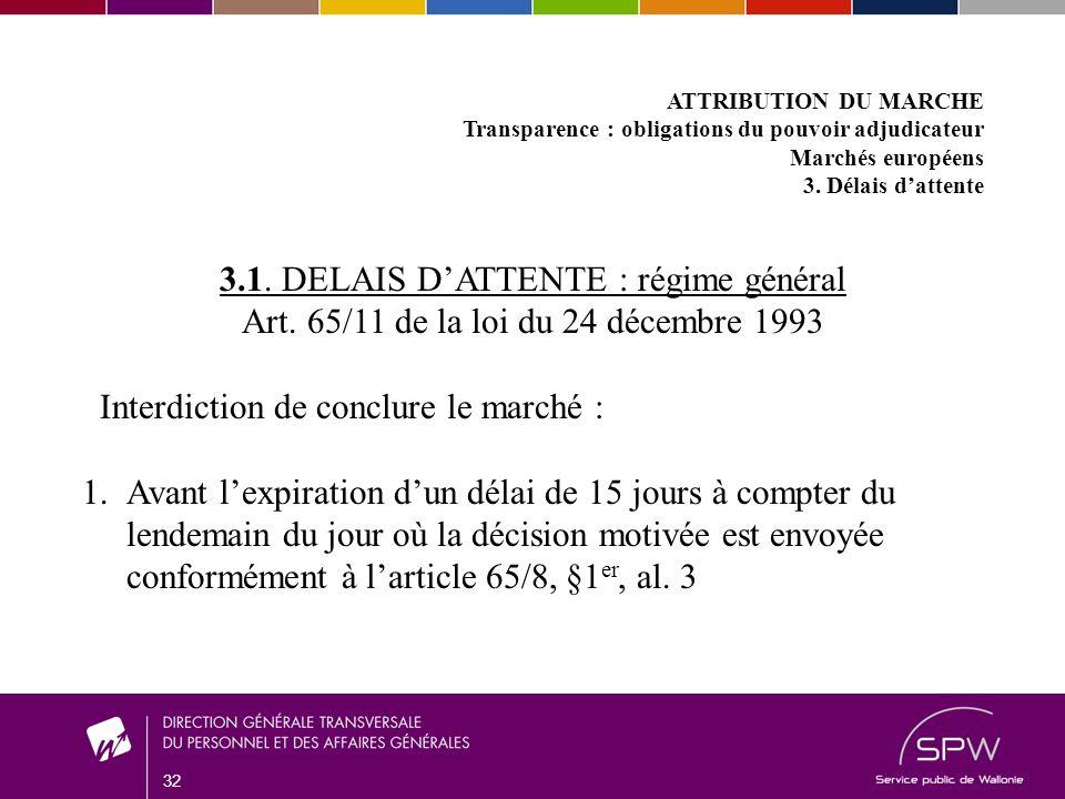 32 ATTRIBUTION DU MARCHE Transparence : obligations du pouvoir adjudicateur Marchés européens 3.