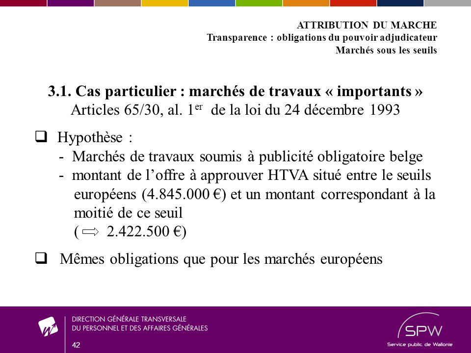 42 ATTRIBUTION DU MARCHE Transparence : obligations du pouvoir adjudicateur Marchés sous les seuils 3.1.