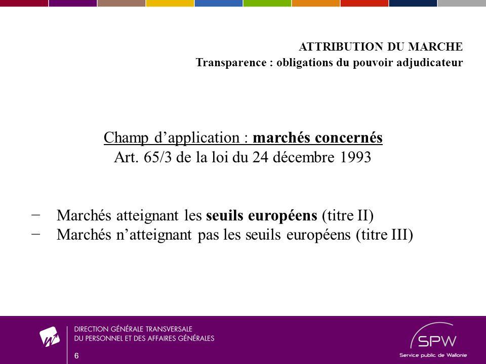 6 ATTRIBUTION DU MARCHE Transparence : obligations du pouvoir adjudicateur Champ dapplication : marchés concernés Art.