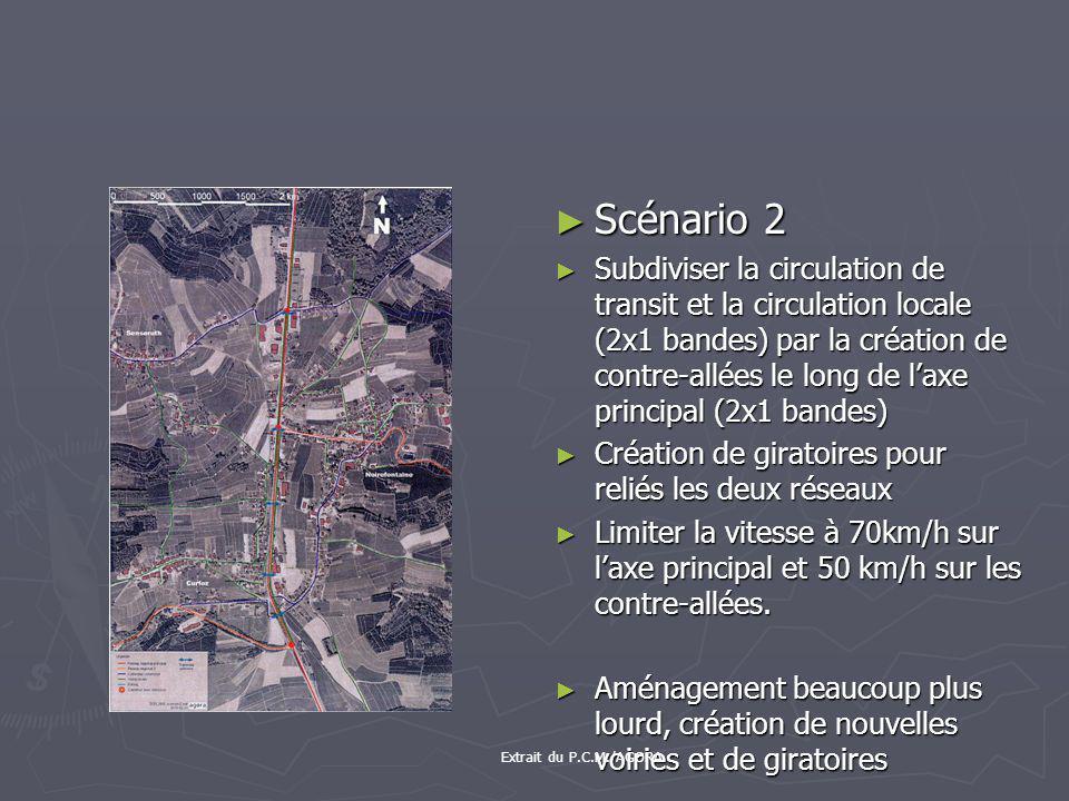 Scénario 2 Subdiviser la circulation de transit et la circulation locale (2x1 bandes) par la création de contre-allées le long de laxe principal (2x1 bandes) Création de giratoires pour reliés les deux réseaux Limiter la vitesse à 70km/h sur laxe principal et 50 km/h sur les contre-allées.