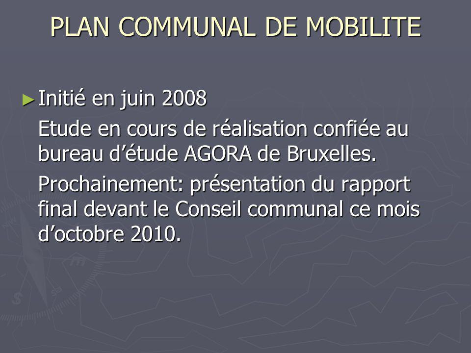 PLAN COMMUNAL DE MOBILITE Initié en juin 2008 Initié en juin 2008 Etude en cours de réalisation confiée au bureau détude AGORA de Bruxelles.