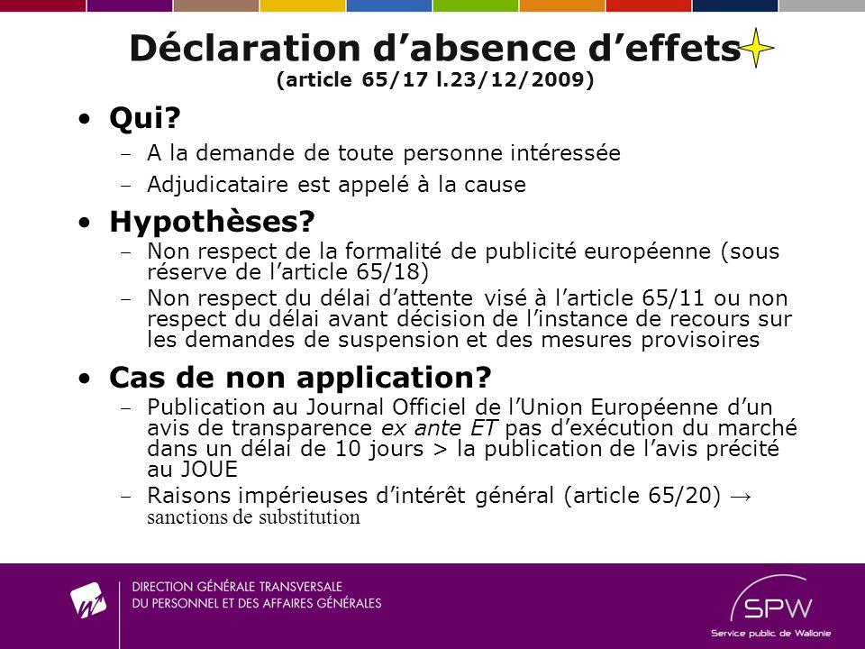 Déclaration d absence d effets (article 65/17 l.23/12/2009) Qui? A la demande de toute personne intéressée A djudicataire est appelé à la cause Hypoth