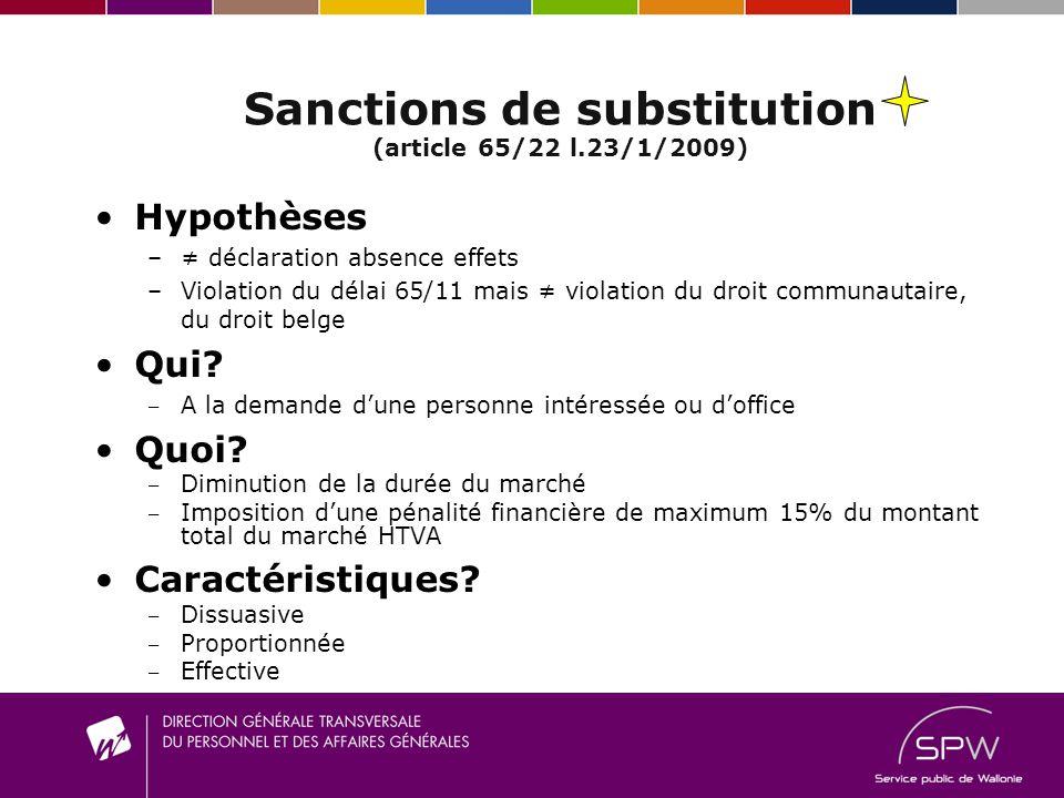 Sanctions de substitution (article 65/22 l.23/1/2009) Hypothèses – déclaration absence effets –V–Violation du délai 65/11 mais violation du droit communautaire, du droit belge Qui.